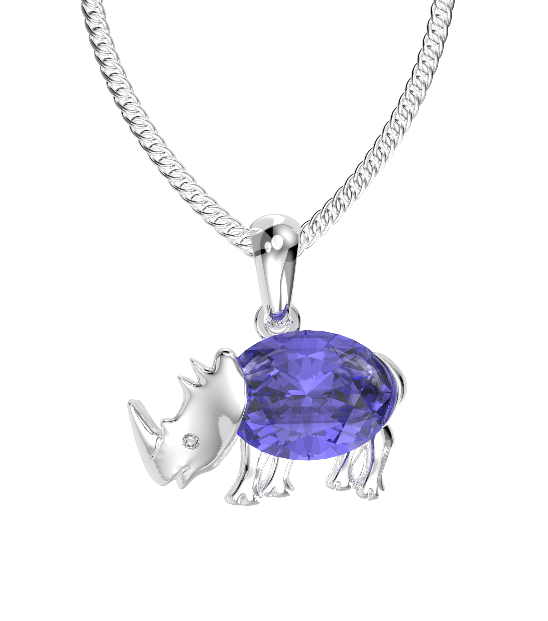 Rhino tanzanite and diamond pendant